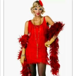 Fashion Flapper Adult Women Red Fringe Dress Sequined Headband Feather Halloween